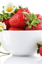 Preview iPhone wallpaper Many strawberries, bowl, flowers, white background