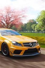 Mercedes-Benz AMG C63 yellow car, speed, Forza Horizon