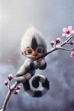 Preview iPhone wallpaper Monkey, flowers, art picture