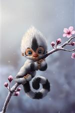 Monkey, flowers, art picture