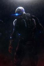 Preview iPhone wallpaper Monster, rain, night, Mass Effect