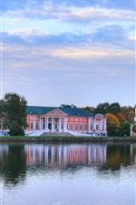 Preview iPhone wallpaper Moscow, Sheremetyevo, Kuskovo, lake, buildings, trees