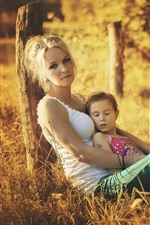 Mother and daughter, grass, sunshine, summer