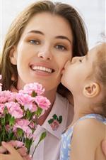 Mãe e filha, amor beijo, cravo rosa