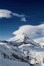 Mountain, peak, snow, clouds, sky