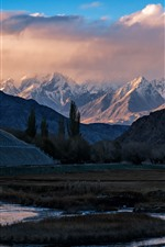 Preview iPhone wallpaper Mountains, house, clouds, dusk, Pamirs