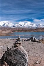 Mountains, lake, snow, stones, nature landscape