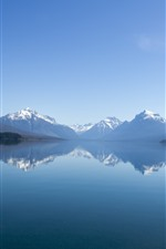 Preview iPhone wallpaper Mountains, lake, water reflection, fog, nature landscape