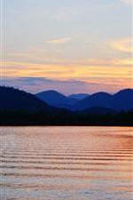 Mountains, river, sunset, sky, dusk