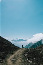 Preview iPhone wallpaper Mountains, sky, clouds, path, person