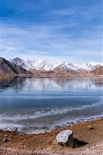 Vorschau des iPhone Hintergrundbilder Muztag Ata, See, Schnee, Felsen, Himmel, China