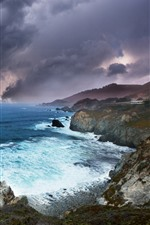 Preview iPhone wallpaper Nature landscape, sea, thick clouds, coast