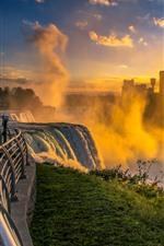 Niagara Falls, morning, fog, waterfall, city, USA