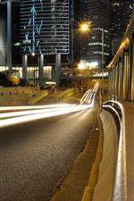Night, road, light lines, city, buildings