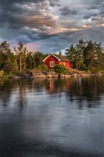 Preview iPhone wallpaper Norway, lake, trees, house
