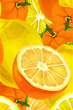 Preview iPhone wallpaper Oranges and lemons, vector art picture