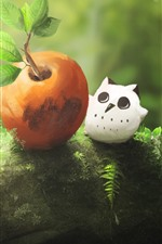 Preview iPhone wallpaper Owl, apple, green, nature, art picture