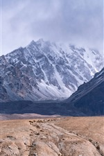 Preview iPhone wallpaper Pamirs, mountains, clouds, snow, fog
