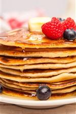 Pancakes, blackberries, strawberries, food