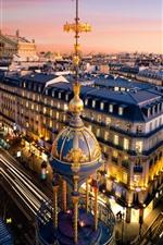 Paris, city, street, houses, dusk, lights, France