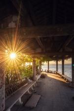 Park, sun rays, lake, corridor, China