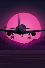 Preview iPhone wallpaper Plane flight, mountains, sunset, art picture