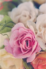 Preview iPhone wallpaper Plastic roses, flowers, hazy