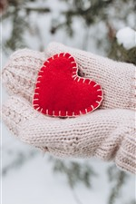 Preview iPhone wallpaper Red love heart, hands, gloves, winter