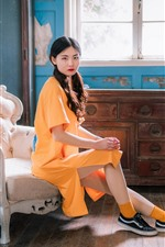 Preview iPhone wallpaper Retro style Chinese girl, yellow dress, chair, window, flowers