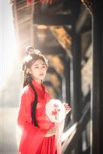 Retro style girl, red skirt, fan, sunshine