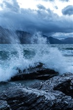 River, water, splash, rocks, shore, mountains, clouds