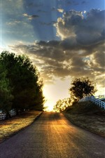 Preview iPhone wallpaper Road, fence, trees, clouds, sunset