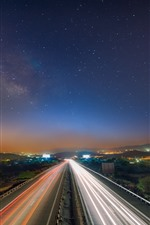 Preview iPhone wallpaper Road, light lines, city, starry, sky, night