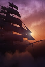 Preview iPhone wallpaper Sailboat, mountains, sunset, clouds, fog, dusk, creative design