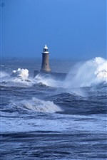 Preview iPhone wallpaper Sea, storm, waves, lighthouse