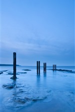 Preview iPhone wallpaper Sea, stumps, dusk