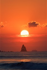 Preview iPhone wallpaper Sea, sunset, red sky, sun, rocks