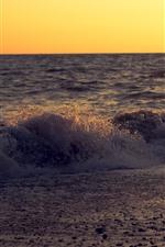 Sea, waves, water splash, coast, dusk