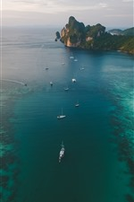 Preview iPhone wallpaper Sea, yachts, coast, top view