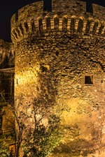 Preview iPhone wallpaper Serbia, Belgrade Fortress, night, lights