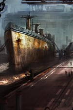 Preview iPhone wallpaper Ship, dock, art picture