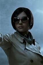 Preview iPhone wallpaper Short hair girl, glasses, gun, PC game