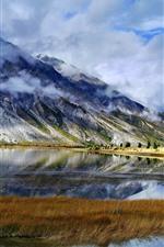 Sichuan-Tibet Line, Ranwu, mountains, clouds, lake