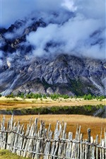 Sichuan-Tibet Line, Ranwu, mountains, fence, clouds, beautiful landscape