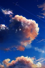 Preview iPhone wallpaper Sky, clouds, plane, art picture