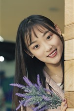 Preview iPhone wallpaper Smile Asian girl, look, wood wall