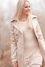 Preview iPhone wallpaper Smile blonde girl, coat
