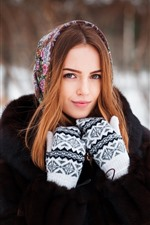 Preview iPhone wallpaper Smile girl, gloves, winter