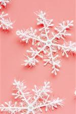 Flocos de neve, fundo rosa, decoração