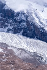 Snowy mountains, Pamirs, fog